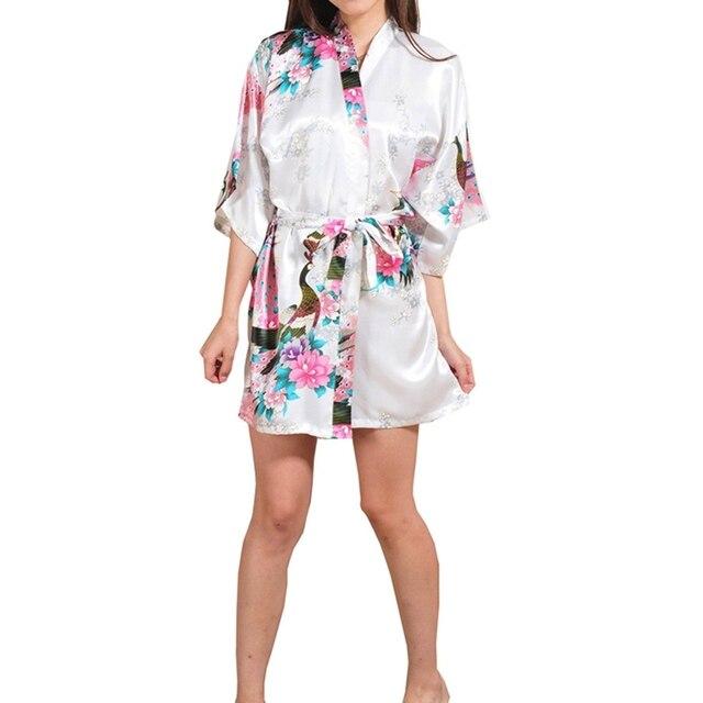 d3d790013207 Sexy Putih Dicetak Perempuan Mini Sutra Jubah Rayon Kimono Yukata Night  Dress Gaun Bunga   Merak