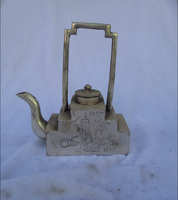 Collectible Decorated Old Handwork Tibet Silver Carved Handle Teapot/Flagon Free shipping 00009