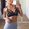 2017 Sexy Roupa Interior Das Mulheres Sutiã Floral Sheer Lace Triângulo Bralette Top Underwear Bra Lingerie Tamanho S-XL