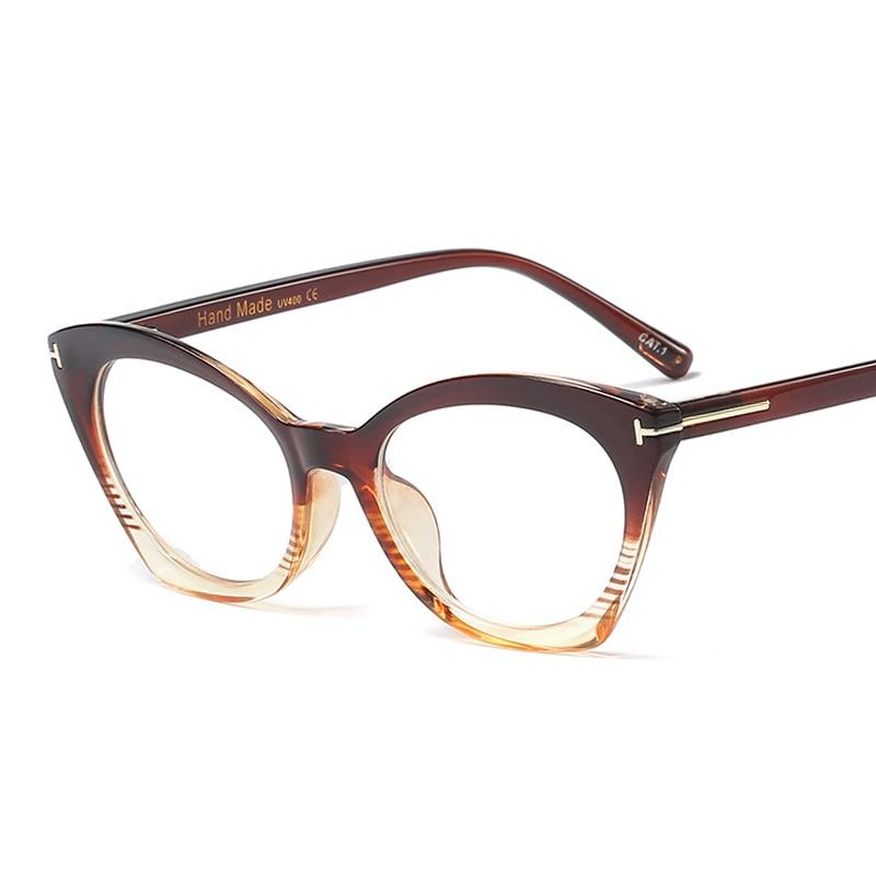 PAWXFB 2019 Fashion Rivet Cat Eye Glasses Frames Women Brand Designer Clear Lens Optical Eyewear Frames Ladies Computer Glasses in Men 39 s Eyewear Frames from Apparel Accessories