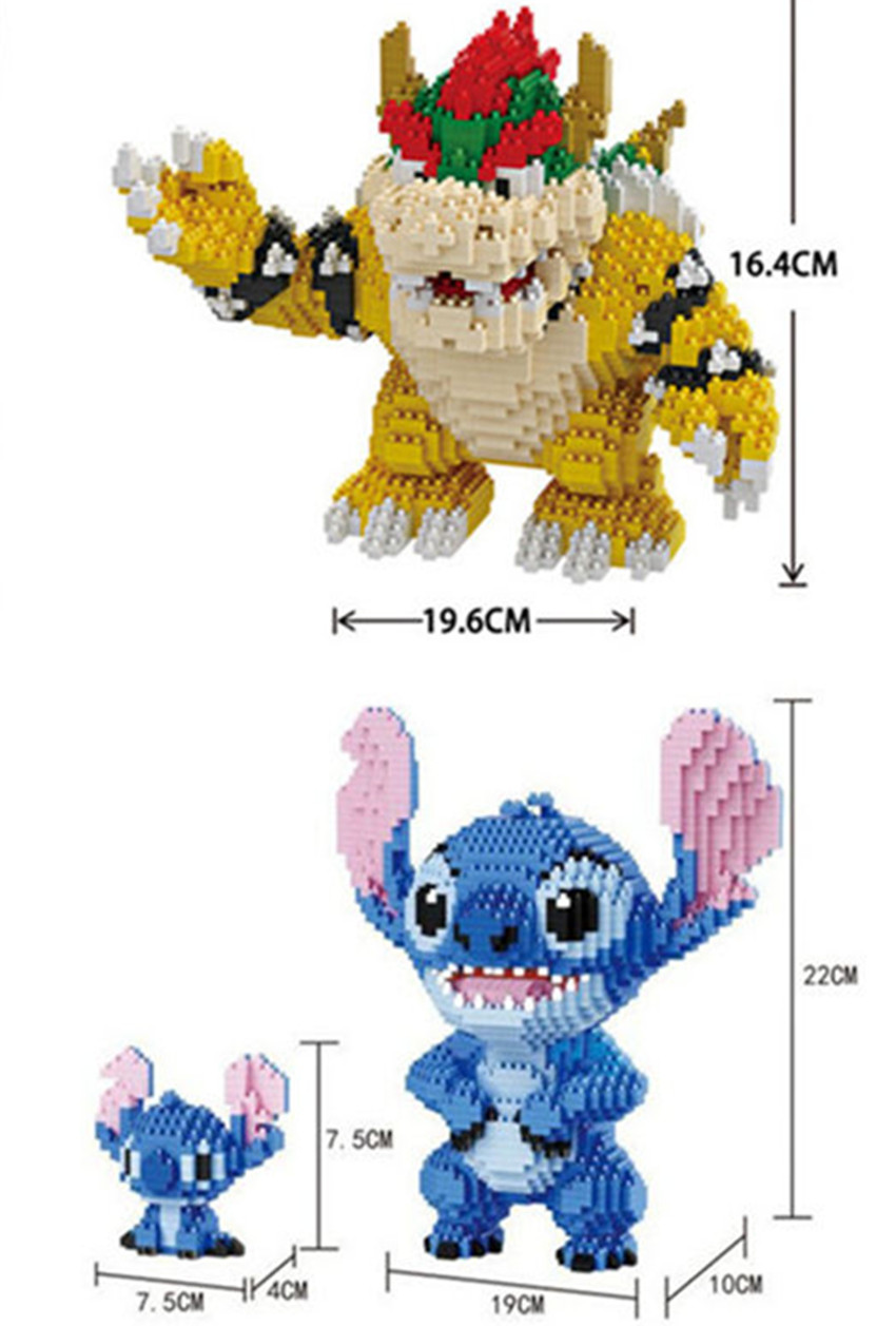 Spiel Super Mariing Bowser Schildkröte stich Tier 3D Modell DIY Diamant Mini Bausteine Ziegel Spielzeug 2300 stücke