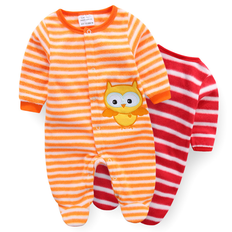 Christmas baby girls boys cartoon striped long sleeve rompers fashion new years kids fleece overalls infant jumpers 17A801