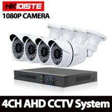 HKIXDISTE 4CH CCTV-System 1080 P Hdmi-ausgang Videoüberwachung DVR KIT mit 4 STÜCKE 3000TVL 2,0 P Weiße Haus sicherheit Kamera-system