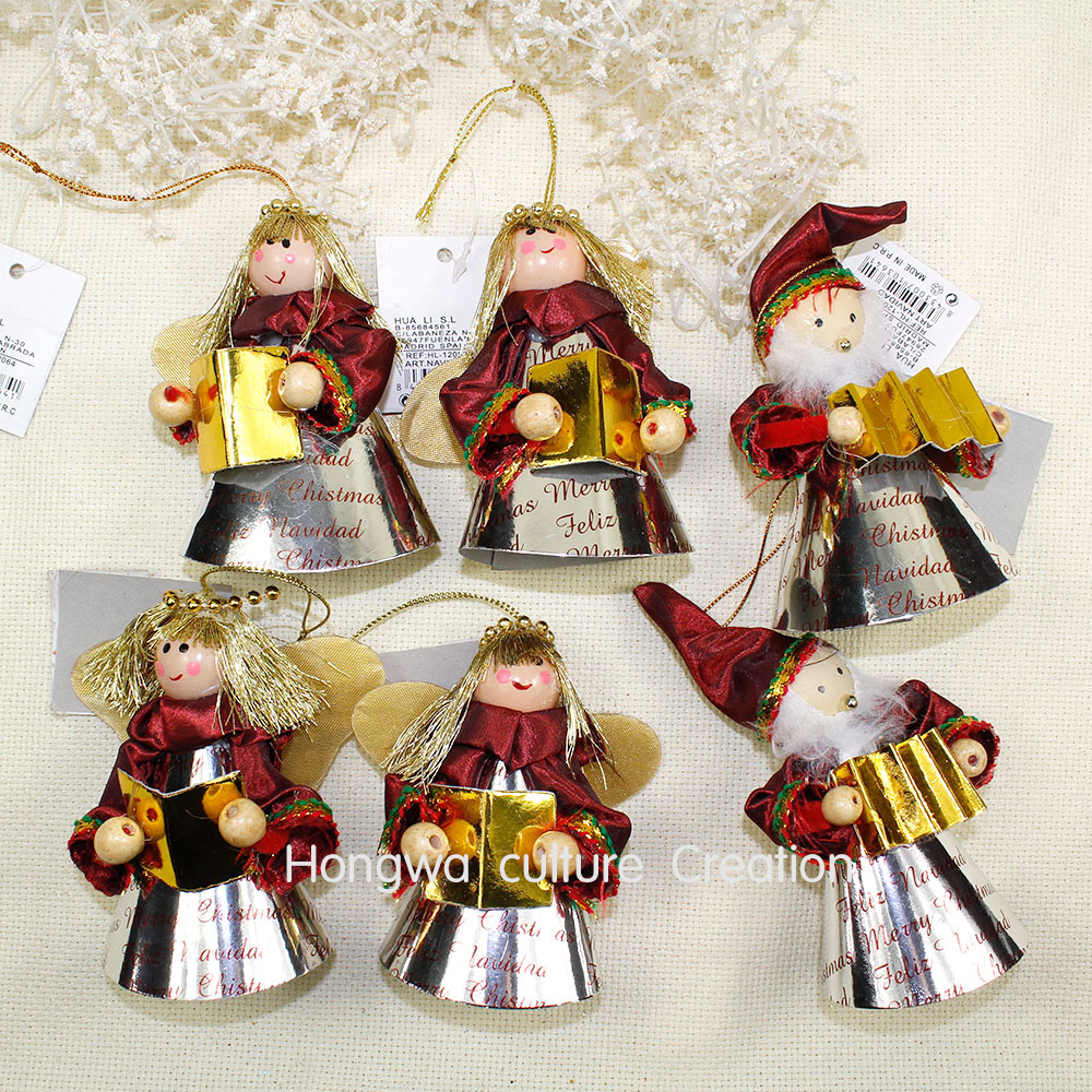 10*10cm 6pcs Little Angel Set Paper And Beads Made Angels Christmas Tree  Hanging Xmas Decoration Wedding Decoration