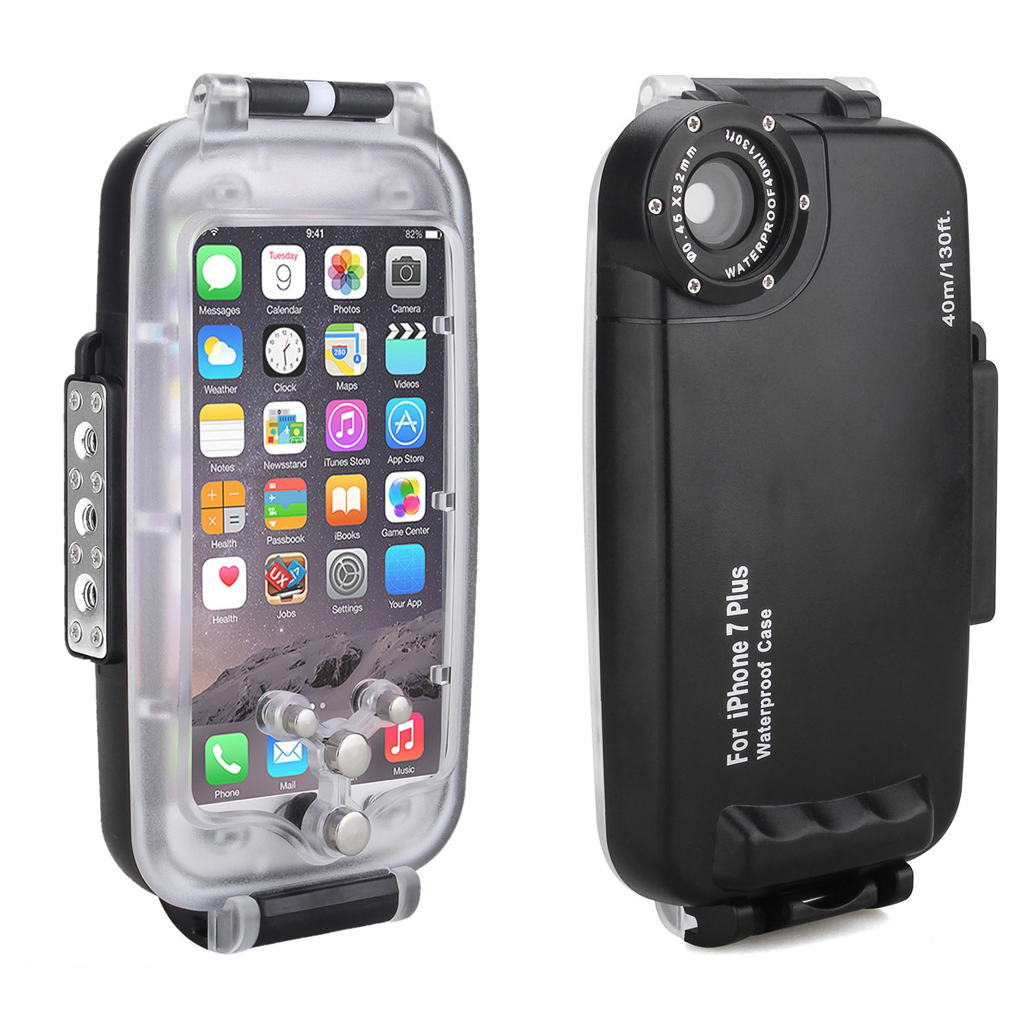 Meikon 40m/130ft Waterproof Underwater Housing Case for iPhone 7 Plus Black Waterproof Underwater Case Cover for iPhone 7 Plus baseus genya leather case for iphone 7 plus black