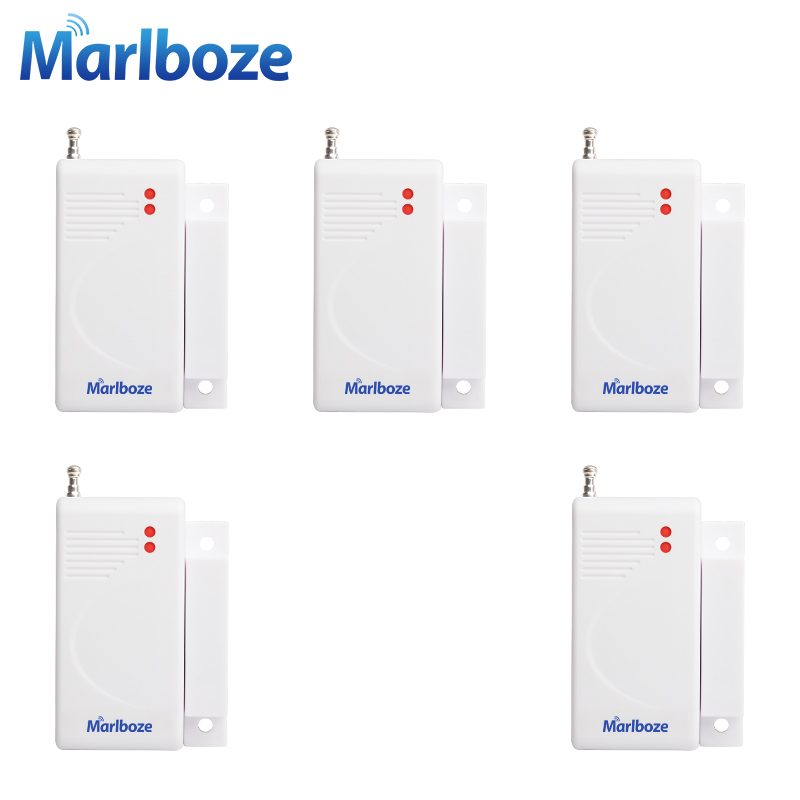 5Pcs/lot 433MHz Wireless Door Window Magnet Sensor Detector with Battery for Home Security Alarm System high quality 1pcs 433 mhz wireless home security door window sensor detector with battery for gsm pstn alarm system