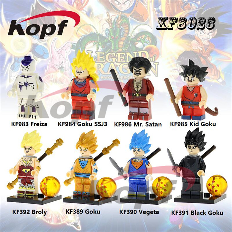 Single Sale Mr. Satan Freiza Goku Super Sayayin Dragon Ball Z Figures Bricks Action Building Blocks Children Toys Gift KF8023 12pcs set children kids toys gift mini figures toys little pet animal cat dog lps action figures