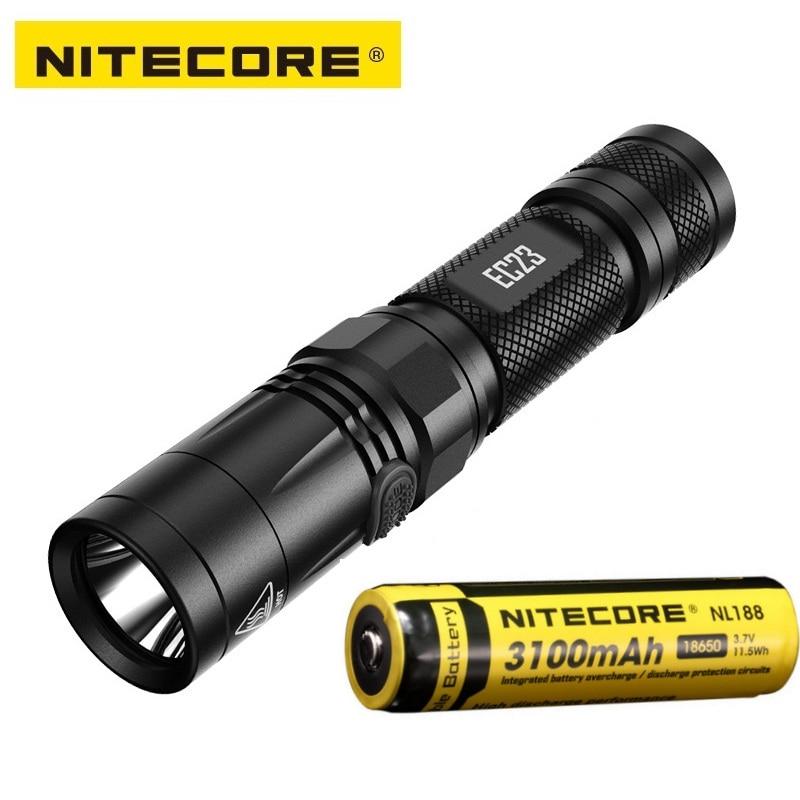 NITECORE EC23 CREE XHP34 HD E2 1800 lumen LED Flashlight beam distance 255 meter + IMR18650 2500mAh 35A Battery smart torch nitecore imr18650 3100mah 35a 3 7v flat top rechargeable battery