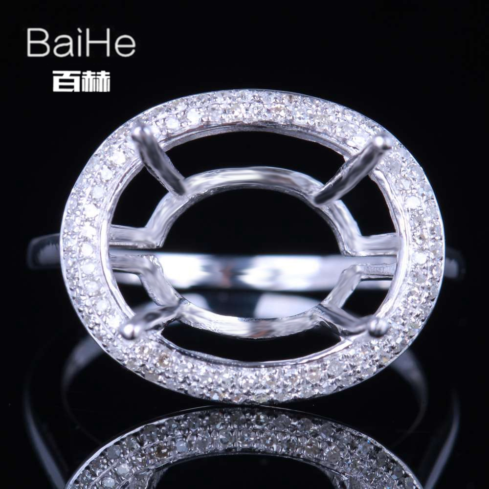 BAIHE Solid 14K White Gold(AU585) Certified Oval Wedding Women Cute/Romantic Fine Jewely Elegant unirque Semi Mount Gift Ring   BAIHE Solid 14K White Gold(AU585) Certified Oval Wedding Women Cute/Romantic Fine Jewely Elegant unirque Semi Mount Gift Ring
