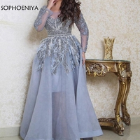 New Arrival Organza Long sleeve Muslim Evening dress 2019 abendkleider Formal dress Party Evening gown Lace Feathers abiye