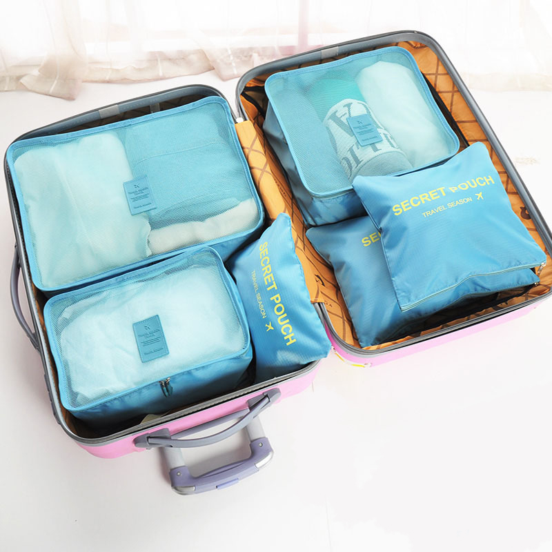6 Pcs JULY'S SONG Pure Color Travel Storage Bag Set For Clothes Organizer Pouch Suitcase Home Closet Divider Container Organiser