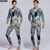 3mm Professional Diving Suit Neoprene Inside Nylon Outside Super Stretch Camo Blue Wetsuit Lycra Chest Both