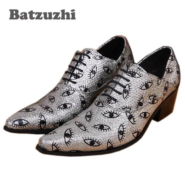 Leder Mit hochzeit Ntparker Schuhe Yhandsome Business Man'sntparker Kleid Silber casual Muster Schuhe Augen Schwarz Mann wYqEYP