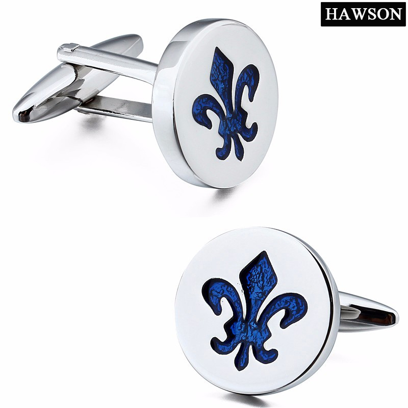 Brand Hawson Fashion Jewelry Blue Enamel Cuff links Round Accessory Cufflinks for Men Luxury Gift Box