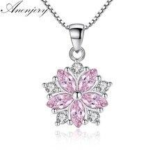 ANENJERY – collier ras du cou en argent Sterling 925 pour femme et fille, rose, cristal clair, Zircon, fleur de cerisier, S-N223