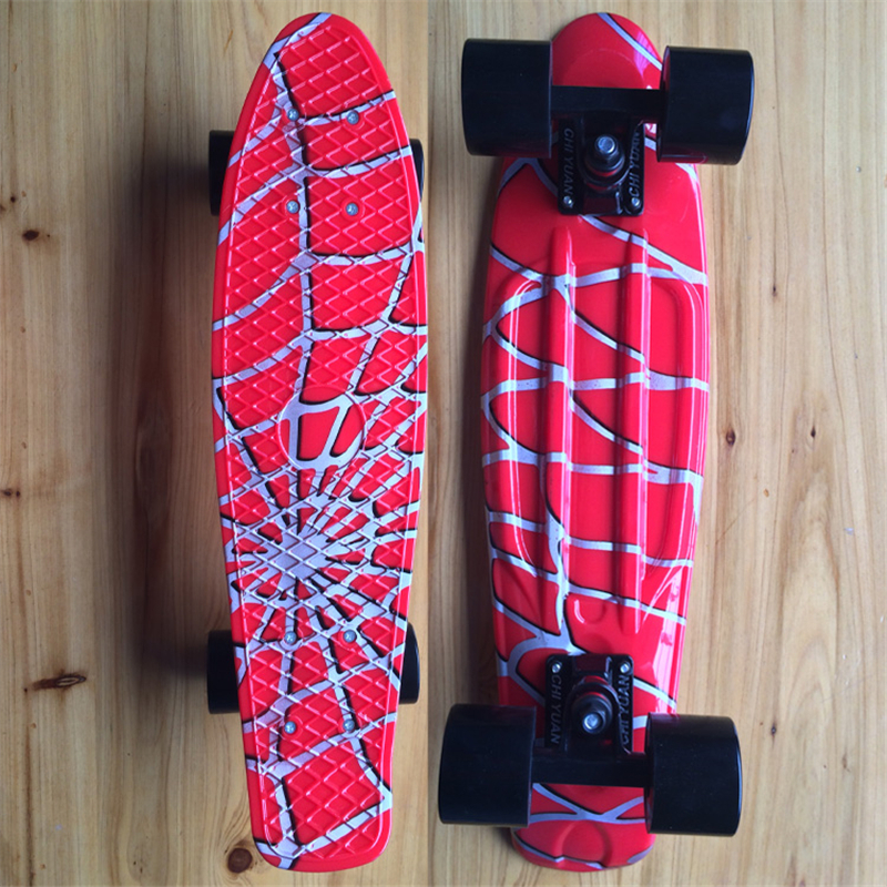 Spiderweb Graphic Printed Mini Cruiser Plastic Skateboard 22 X 6 Retro Longboard Skate Long Board No Assembly Required hot peny board skateboard wheels complete retro girl boy cruiser mini longboard skate fish long board skate wheel pnny board 22