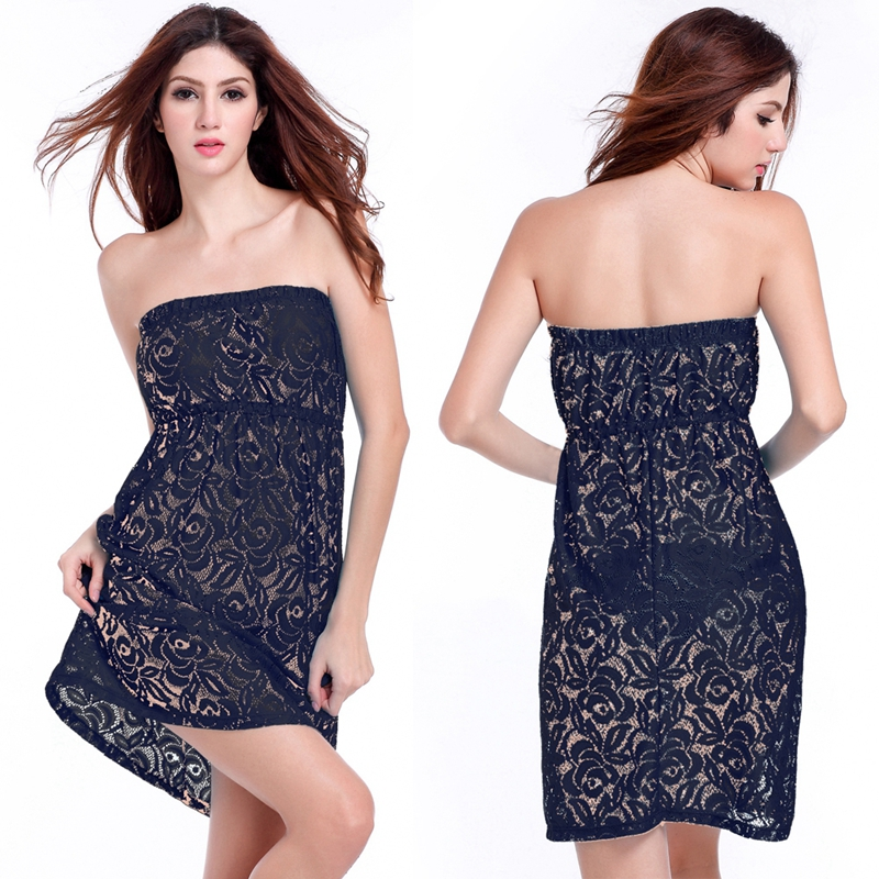 2017 Matches Bikini Cover Up Tube Top Lace Tunic Beach Dress Sexy Female Transparent Women Strapless Lace Dress Beachwear