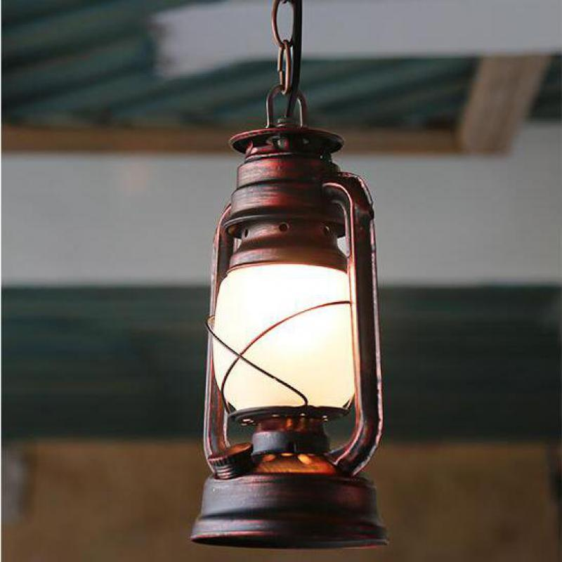 ФОТО Creative Chinese Vintage Retro Kerosene Lantern Iron Glass Led E27 Pendant Light For Cafe Bar Balcony Corridor Aisle 1127