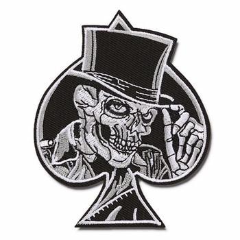 JX-LCLYL 1 pieza nuevo corazón calavera Punk Ace of Spades bordado coser en hierro en parche insignia tela
