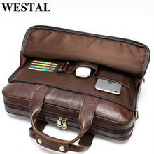 WESTAL men's leather bag men's briefcase office bags for men bag man's genuine leather laptop bags male tote briefcase handbag(China)