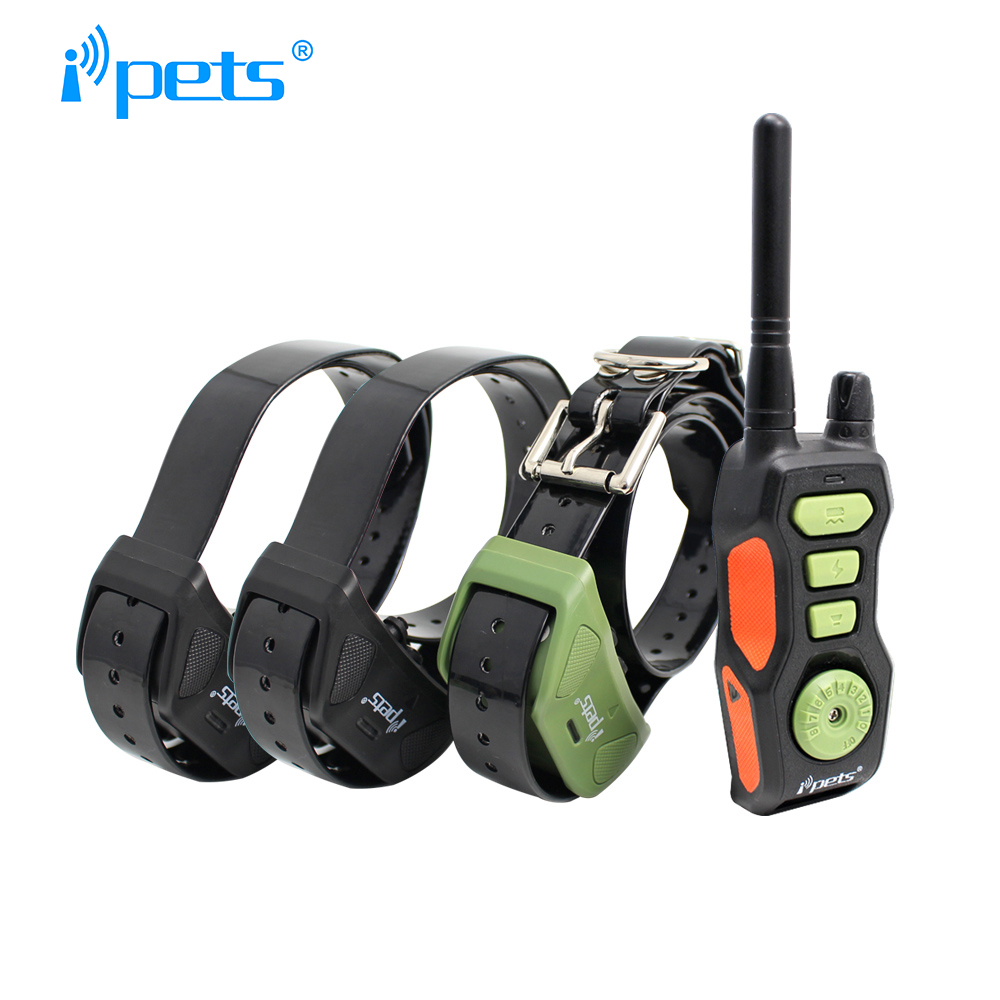 Ipets 618 3 800 Meters Rechargeable and Waterproof 3 Dogs Training Shock Electric Collar with Remote