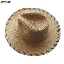 Foldable Summer Straw Hat Wide Brim Fedora Sun Beach Men Casual Vacation Panama Women Jazz Hats