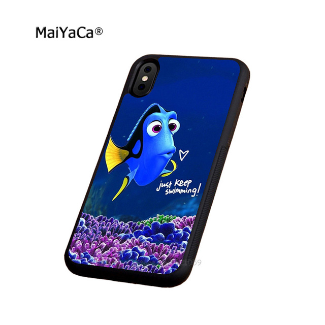 buy popular ea5fd be646 just keep swimming soft edge phone case for iphone 5s se 6 6s plus 7 7plus  8 8plus X XR XS MAX black silicone cover case-in Half-wrapped Case from ...
