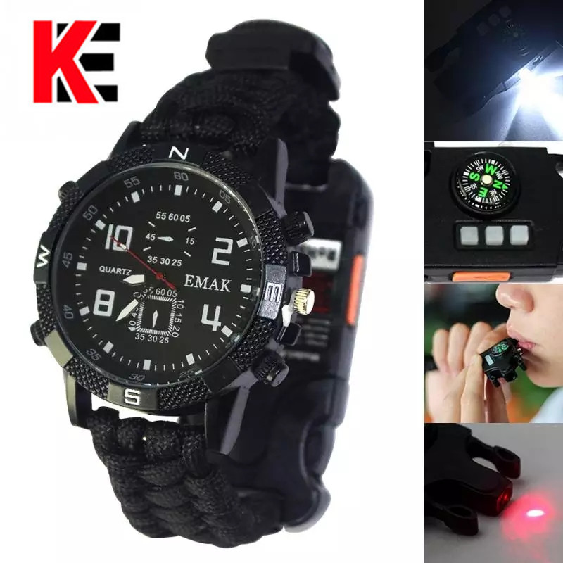 Outdoor EDC Camping Multi-functional Watch Survival Watch Compass Thermometer Rescue Rope Paracord Bracelet Equipment Tools Kits