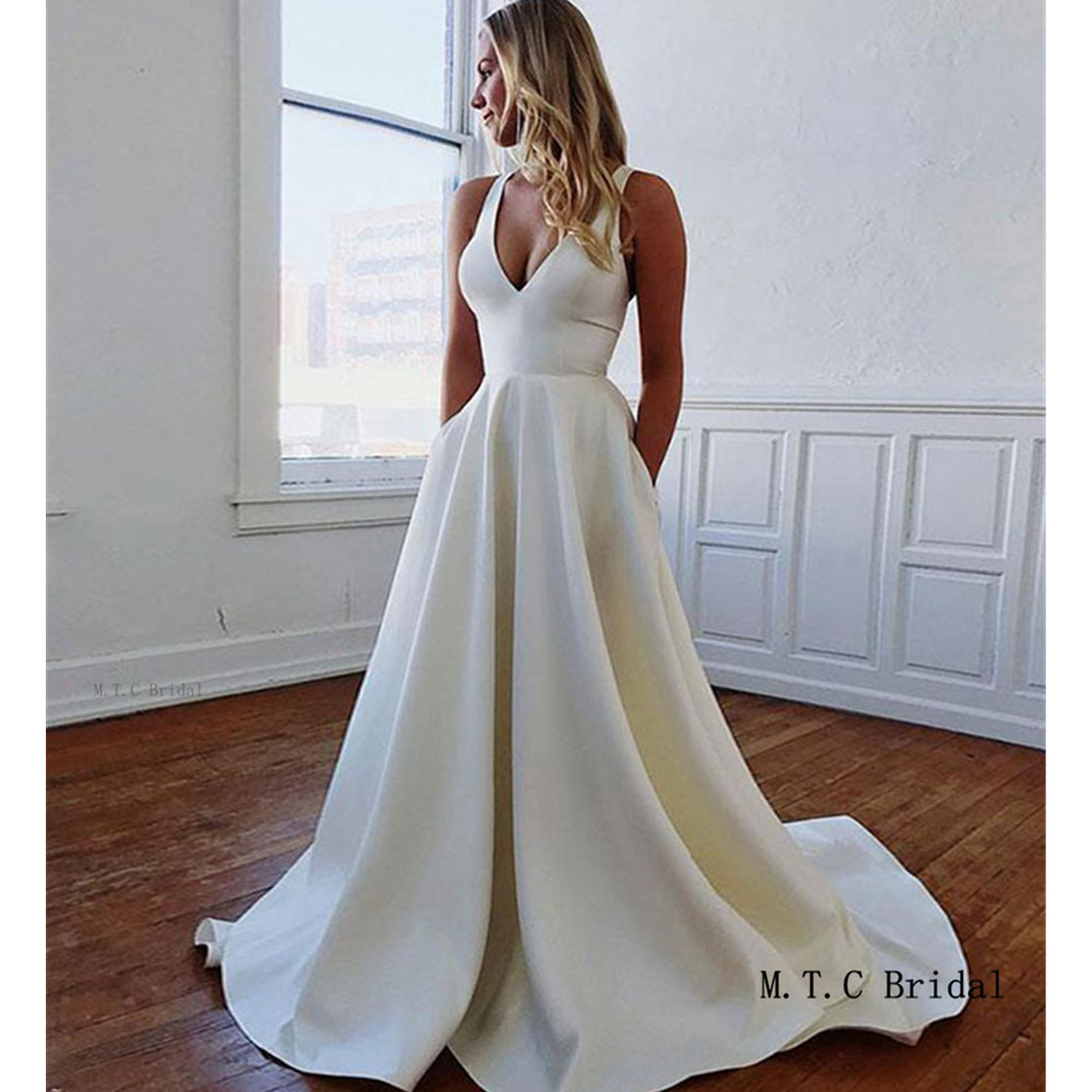 Charming White Satin Wedding Dress Chic Bow A Line Sweep Train Long Simple Bridal Dresses Cheap