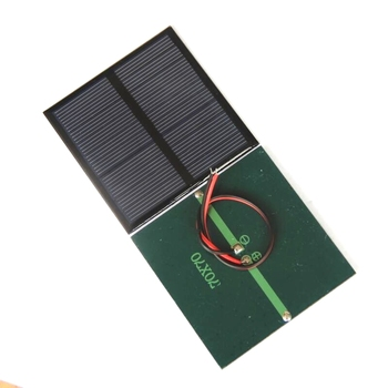 BUHESHUI 0.7W 1.5V Mini Solar Panel Polycrystalline DIY Solar Cell Module Battery Charger For 1.2V+Cable/Wire Study 70*70MM image