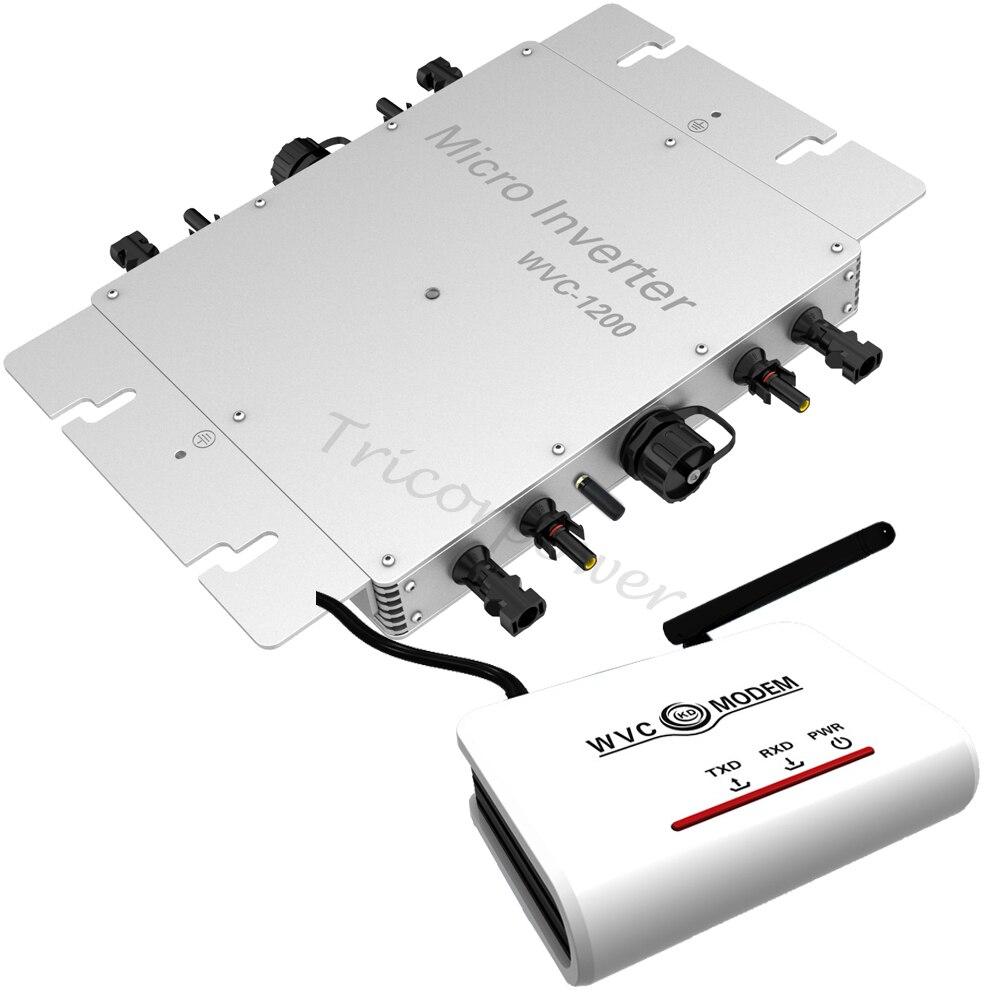 1200W solar grid tie micro inverter with wireless communication WVC modem MPPT pure sine wave 22