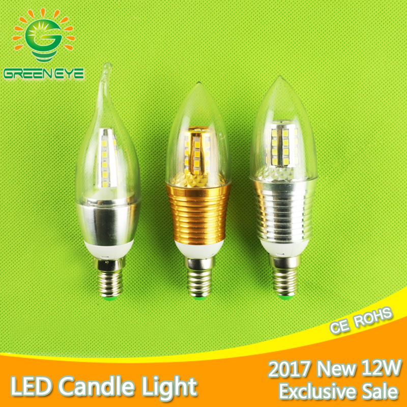 E14 LED Bulb 7w 9w 12w LED Candle Lamp E14 Light 220V 240v Golden Silver Cool White Warm White Lumiere Lampara