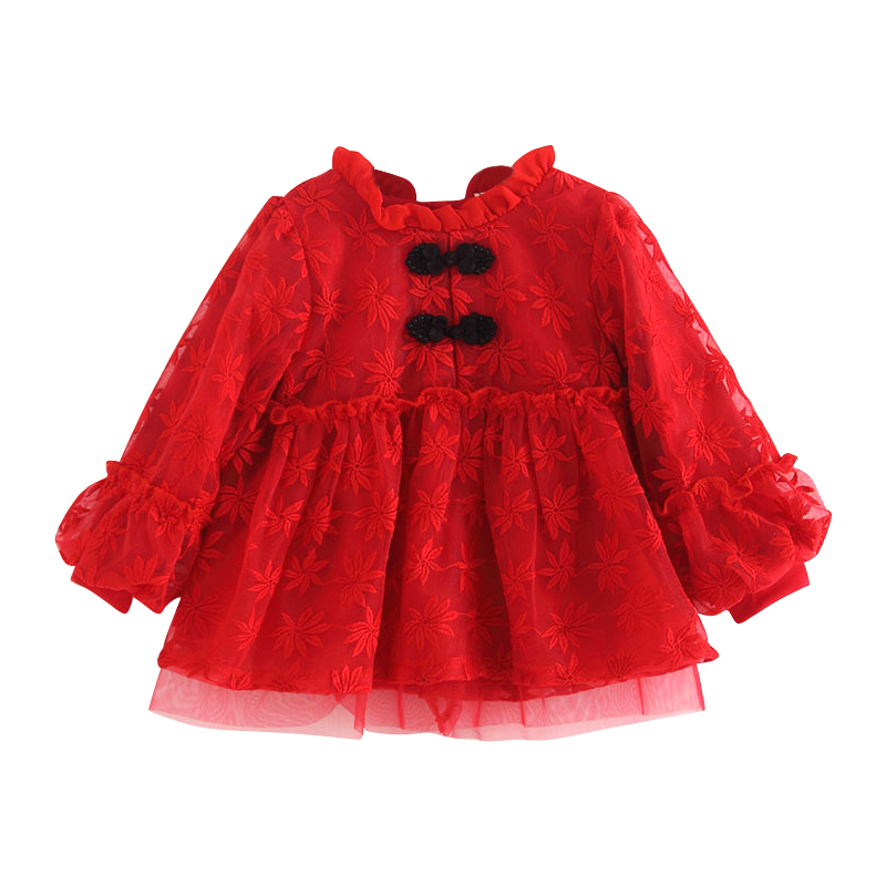 Image 3 - Baby Girls Infant Dress&clothing Autumn Chinese Style Embroidery Lantern Sleeve Kids Party Birthday Outfits Christening 3ColorDresses   -