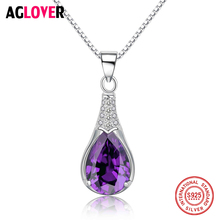 Purple Crystal Mystic Water Drop Pendants Necklace Real Pure 925 Sterling Silver Women Fashion Charm Engagement Wedding Jewelry 925 pure silver christmas bells silver pendants