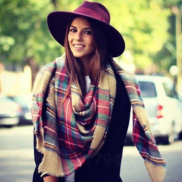 Women Big Size Cashmere Type font b Tartan b font Plaid Scarf Thick Basic Wrap Shawl