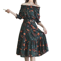 Xinbeauty New Arrival Slash Neck Puff Sleeve Floral Printed Women Casual Vestido Vintage Elegant Sexy Autumn