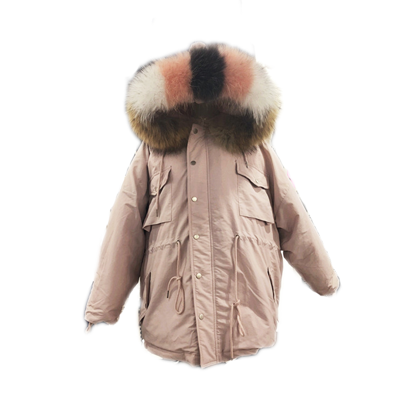 37e4c9cca Sweet Color Baby pink Warm Real Fur Woman Parkas Female Overcoat Hooded  white duck down Jacket Coats ...