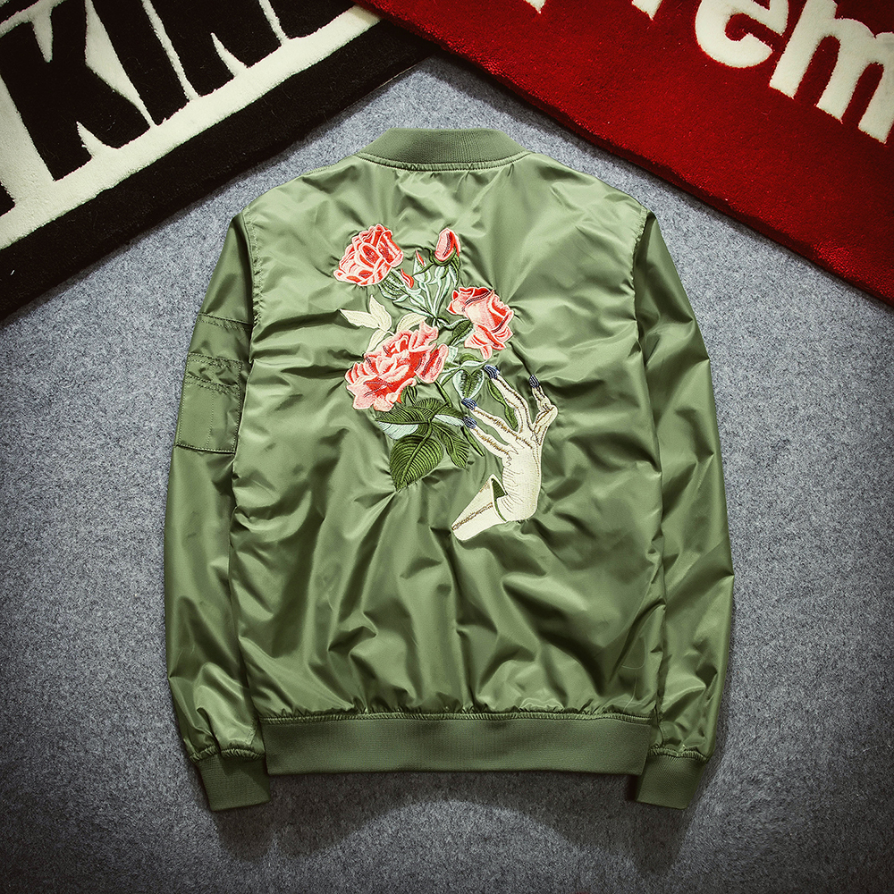 Men's coat brand jackets and coats embroidery florales flight bomber jacket women military windbreaker ceket chaquetas mujer