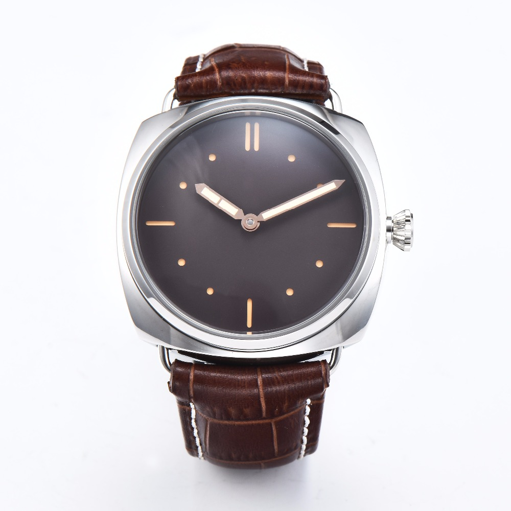 Watch Parnis 47 mm Seagull hand winding 6497 mechanical movement silver polished 316L stainless steel case luminous hand 630-7Watch Parnis 47 mm Seagull hand winding 6497 mechanical movement silver polished 316L stainless steel case luminous hand 630-7