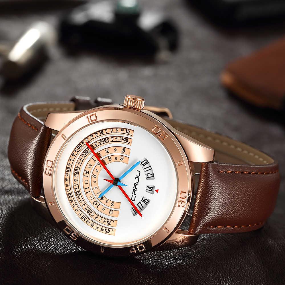 CRJU Homens Esportivo de luxo de couro Relógios Masculino Engraçado Binário Relógio calendário Movimento Japão Relógio de Pulso À Prova D' Água erkek kol saati