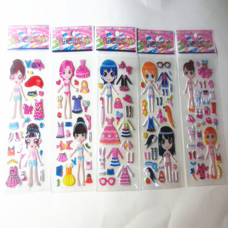 6pcs/lot Bubble Stickers Cartoon Dress up girl Sticker Party Favors for Kids Cute DIY Craft Scrapbook Stickers Childs gift