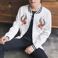 Hot Sales White Embroidered Men's Long Sleeve Jacket 2017 New Black Men Fashion Business Casual Jacket Slim Comfort Size S M-3XL