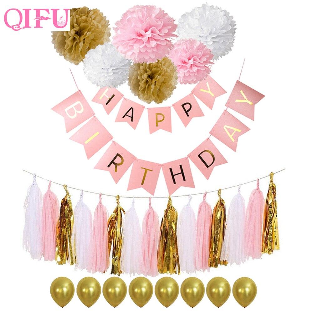QIFU Pink Blue Tissue Paper Tassels Pom Poms Happy Birthday Banner Baby Shower Garland Kids Birthday Decorations Party Supplies