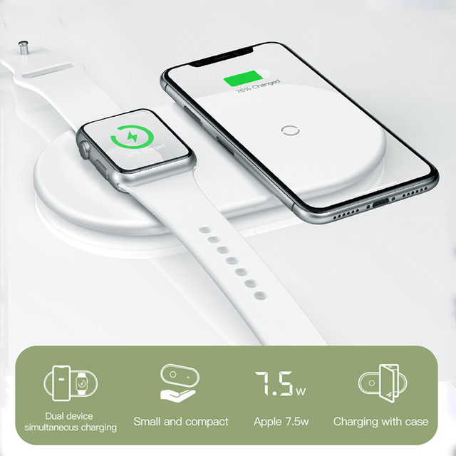 Baseus 2 in 1 Wireless Charger Pad For Apple Watch 2/3 iPhone X Xs Max XR Born for Apple Fans (Not Support Apple Watch Series 4)
