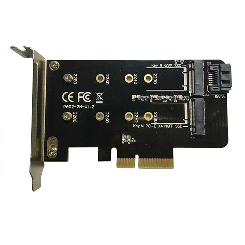 Dual M.2 PCIe Adapter <font><b>M2</b></font> SSD NVME M Key <font><b>SATA</b></font>-based B Key <font><b>to</b></font> PCI-e 3.0 x 4 Controller Converter Card Support <font><b>2280</b></font> 2260 2242 2230 image