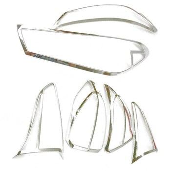Cocok untuk Hyundai Tucson 2015 2016 2017 Chrome Depan Belakang Lampu Ekor Lamp Cover Trim Styling Hiasan Bezel molding