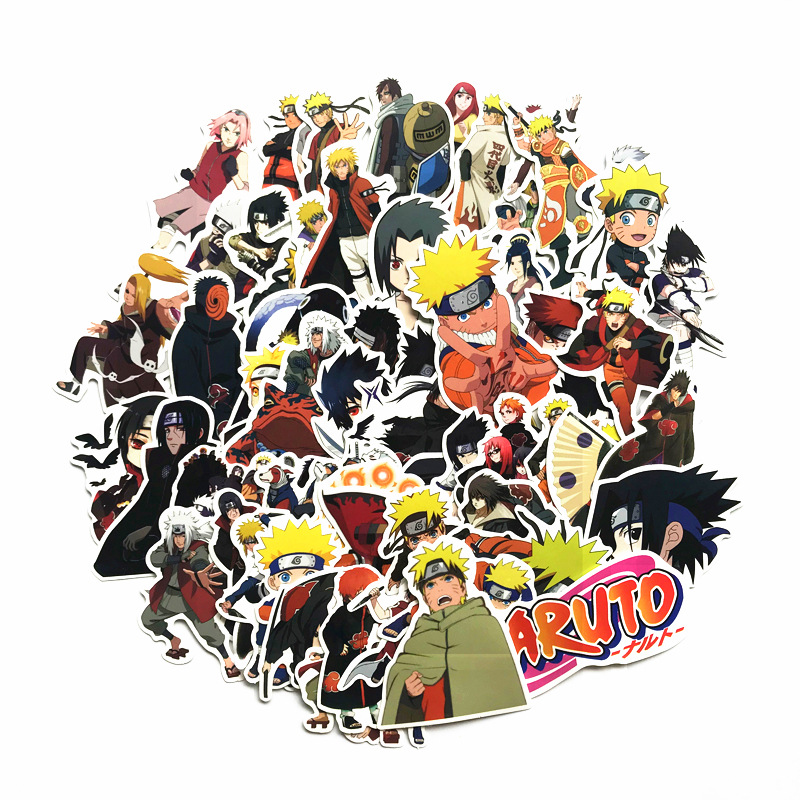 2019 Japan Anime 63Pcs/lot Naruto Sasuke Cartoon For Snowboard Laptop Luggage Fridge Car- Styling Vinyl Decal  Stickers