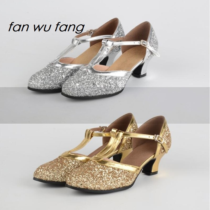 fan wu fang 2017 New Arrival Sequins Rubber Sole Ballroom Latin Dance Shoes Tango Dancing Shoes