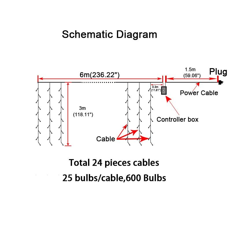 SVELTA 6x3m 600 전구 LED icicle 문자열 요정 빛 야외 - 휴일 조명 - 사진 2