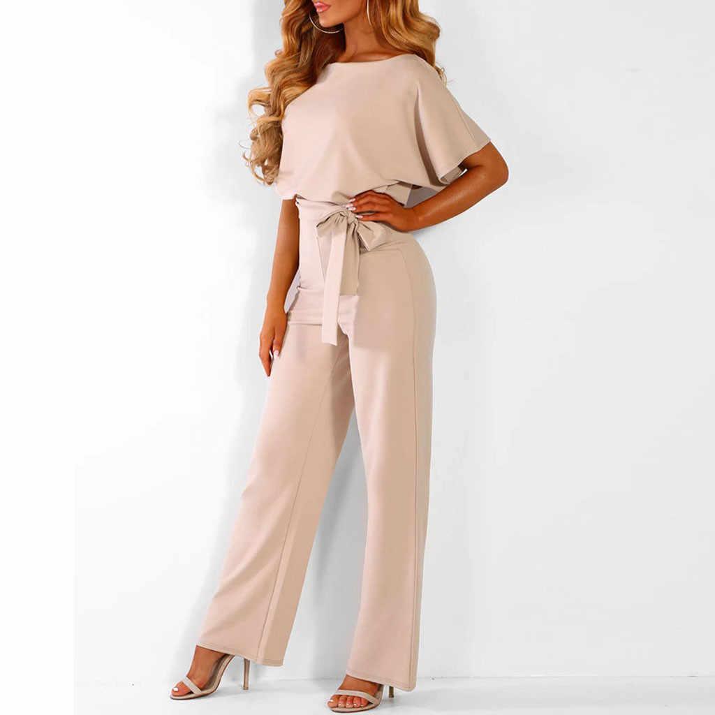JAYCOSIN сексуальный комбинезон женский игровой костюм с коротким рукавом Клубная одежда Прямой комбинезон с поясом боди мода 2019 Новинка
